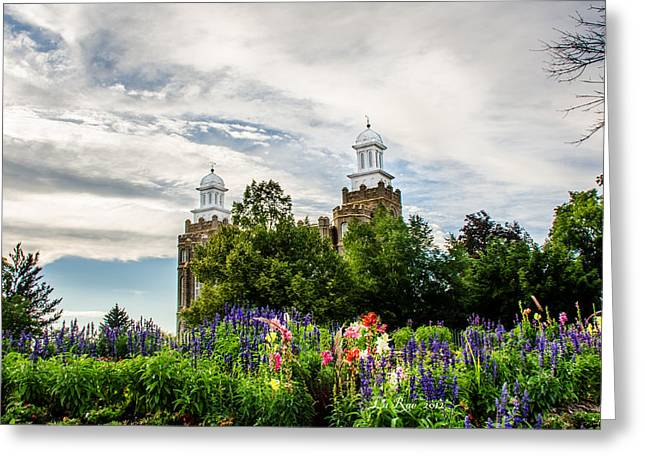 Utah Temple Photography Greeting Cards - Logan Temple Flowers Greeting Card by La Rae  Roberts