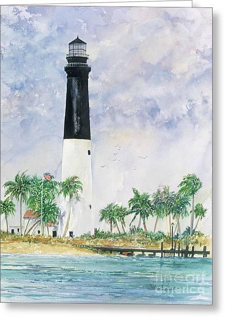 Dry Tortugas Paintings Greeting Cards - Loggerhead Key Lighthouse Greeting Card by Richard Jansen