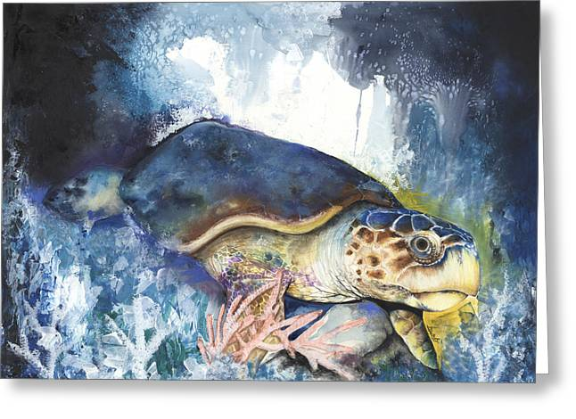 Tree Roots Mixed Media Greeting Cards - Loggerhead Sea Turtle Greeting Card by Anthony Burks Sr