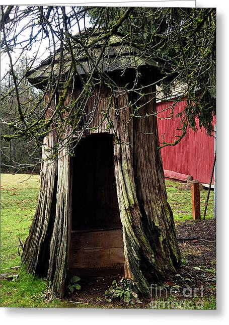 Clayton Greeting Cards - Loggers Outhouse Greeting Card by Clayton Bruster