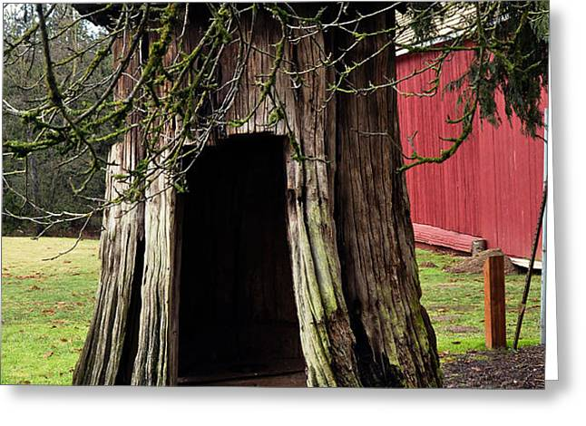 Loggers Outhouse Greeting Card by Clayton Bruster