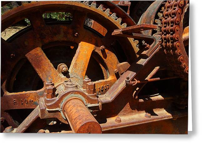 Logging Tractor Greeting Cards - Logging Gears Greeting Card by Jacqueline  DiAnne Wasson