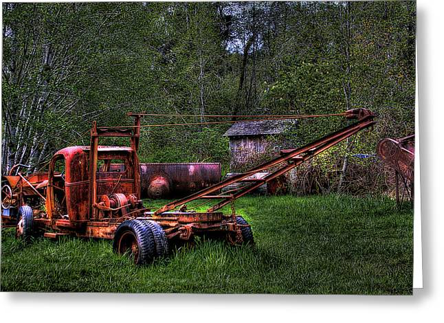 Logging Vehicle Greeting Card by David Patterson