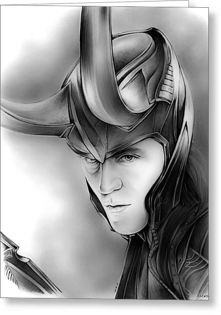 Loki Greeting Card by Greg Joens