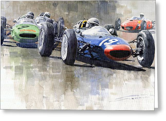 Watercolour Paintings Greeting Cards - Lola Lotus Cooper Ferrari Datch GP 1962 Greeting Card by Yuriy  Shevchuk