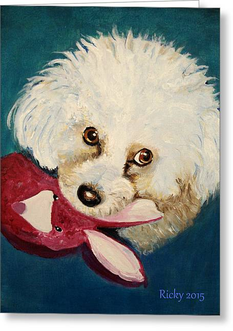 Puppies Paintings Greeting Cards - Lola Greeting Card by Veronica Rickard