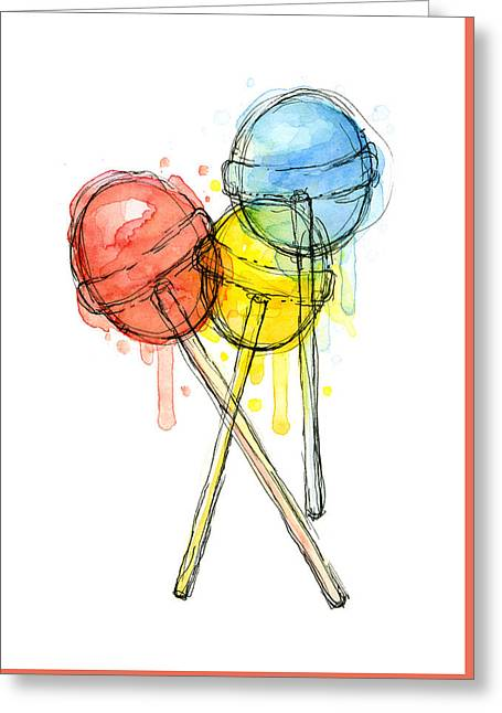 Lollipop Candy Watercolor Greeting Card by Olga Shvartsur