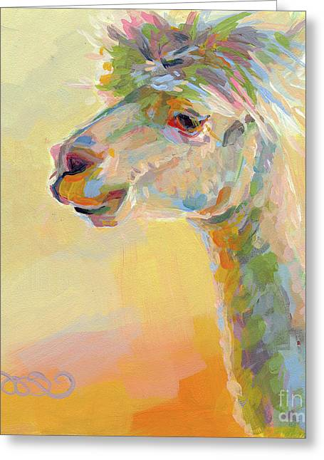 Lavendar Greeting Cards - Lolly Llama Greeting Card by Kimberly Santini