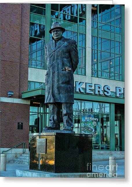 Lambeau Field Greeting Cards - Lombardi Greeting Card by Tommy Anderson