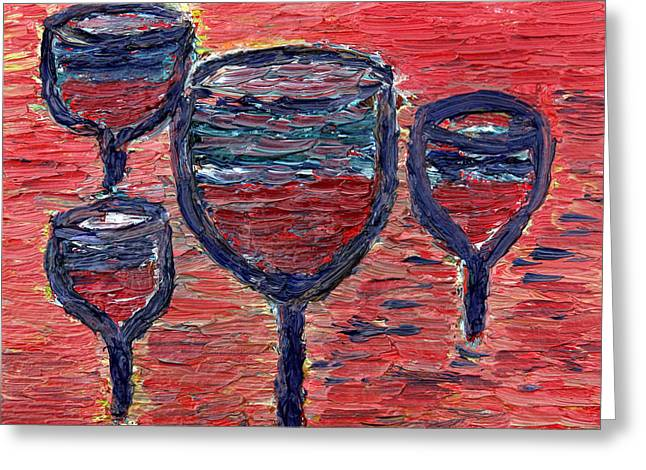 Wine Sipping Paintings Greeting Cards - Lomir Ale In Eynem Greeting Card by Vadim Levin