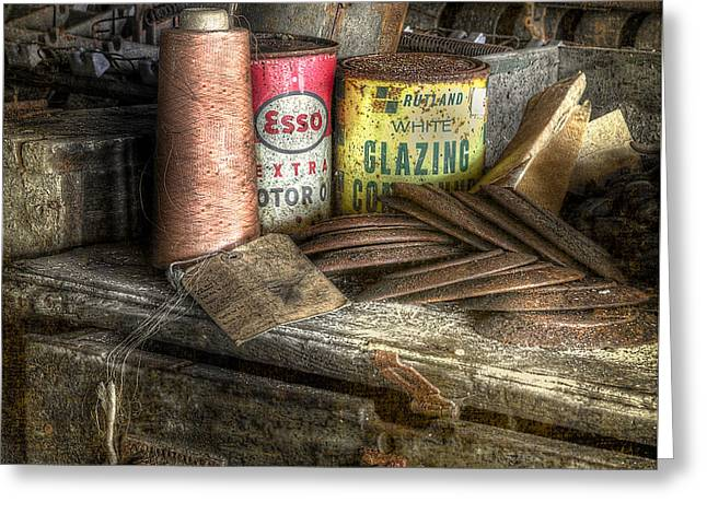 Cardboard Greeting Cards - Lonaconing Silk Mill Desk Greeting Card by Jerry Fornarotto