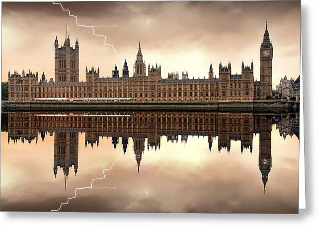 Storm Digital Art Greeting Cards - London - The Houses of Parliament  Greeting Card by Jaroslaw Grudzinski