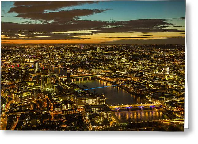 Historic Architecture Greeting Cards - London At Dusk Greeting Card by Roman Grac