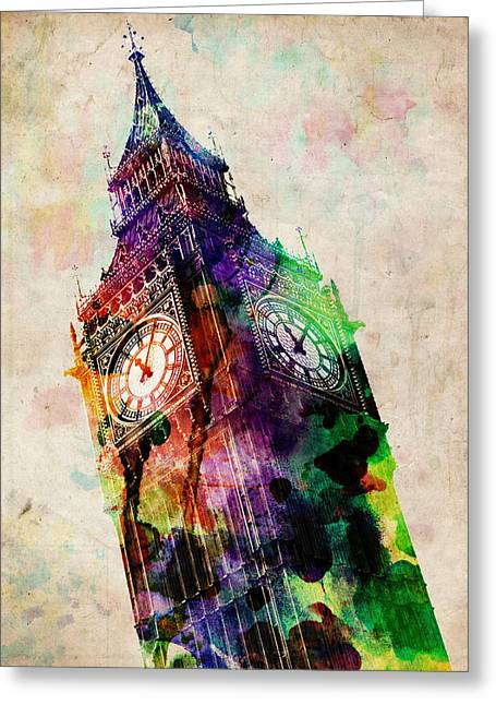 Landmarks Tapestries Textiles Greeting Cards - London Big Ben Urban Art Greeting Card by Michael Tompsett