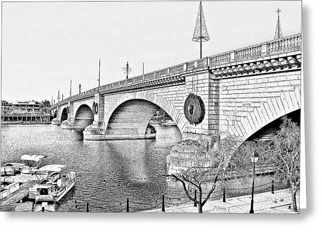 White River Scene Mixed Media Greeting Cards - London Bridge Lake Havasu City Arizona Greeting Card by Christine Till