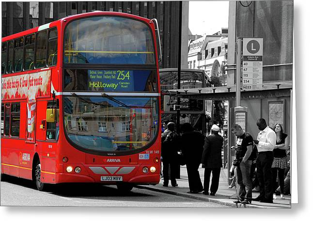 Selective Colouring Greeting Cards - London Bus Greeting Card by Graham Taylor
