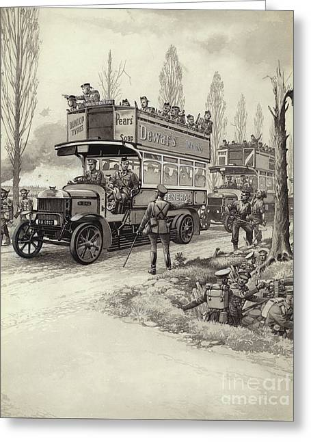 London Buses Used To Take Troops To The Front During Wwi Greeting Card by Pat Nicolle