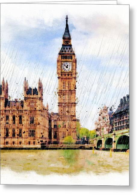 Fine Mixed Media Greeting Cards - London Calling Greeting Card by Marian Voicu