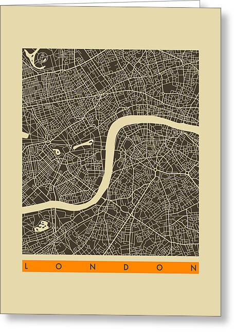 London City Map Greeting Cards - London City Map Greeting Card by Jazzberry Blue