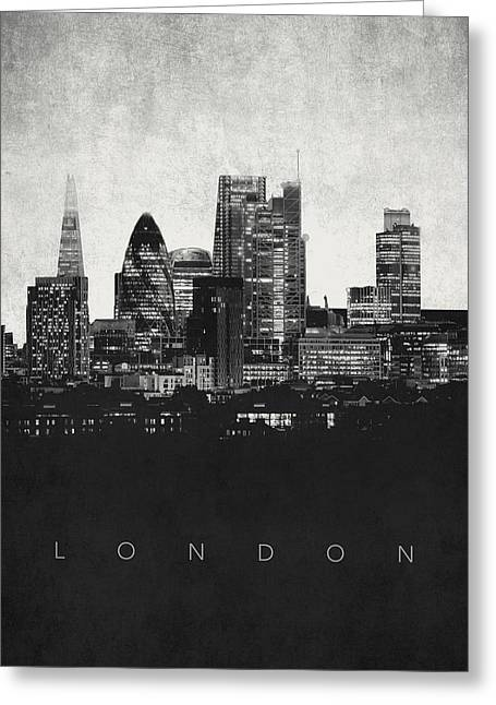 Film Noir Greeting Cards - London City Skyline - Urban Noir Greeting Card by World Art Prints And Designs