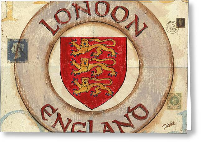 Postmarks Greeting Cards - London Coat of Arms Greeting Card by Debbie DeWitt
