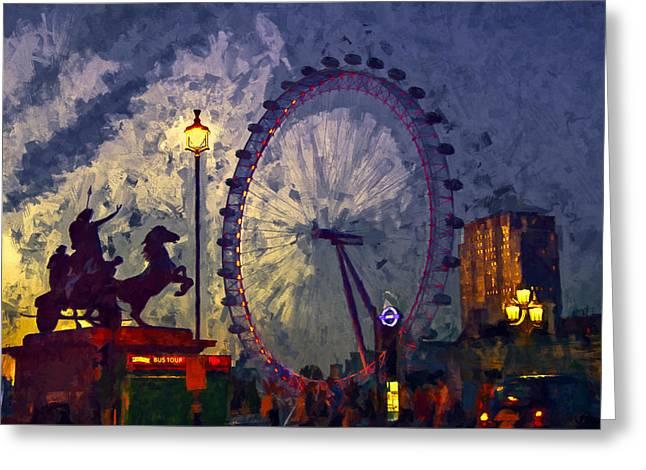Night Lamp Greeting Cards - London Eye After Sunset Greeting Card by John K Woodruff