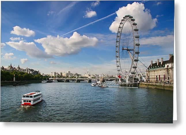 Famous Bridge Greeting Cards - London Eye and River Thames Greeting Card by Georgi Djadjarov