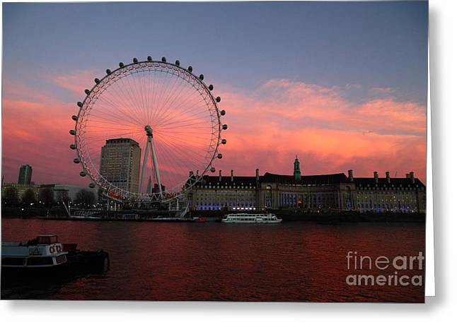 London Eye And South Bank At Sunset Greeting Card by James Brunker