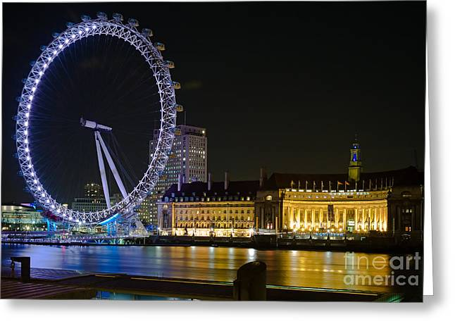 London Eye at Night Greeting Card by Clarence Holmes