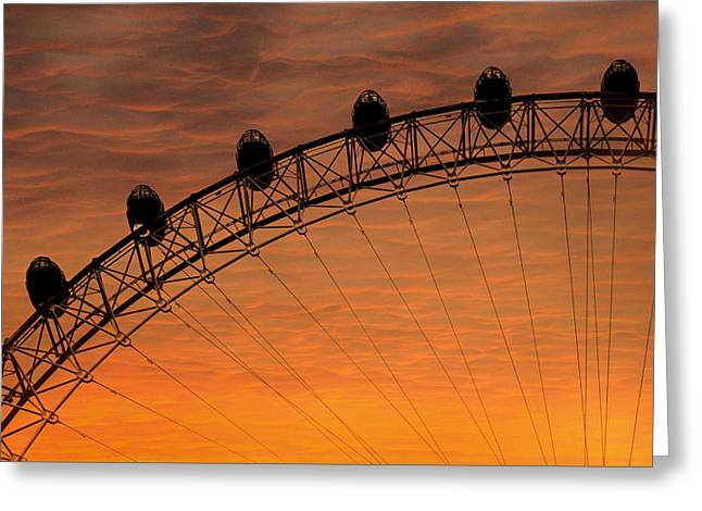 London Eye Sunset Greeting Card by Martin Newman