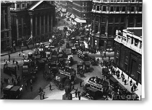Omnibus Greeting Cards - London: Financial District Greeting Card by Granger