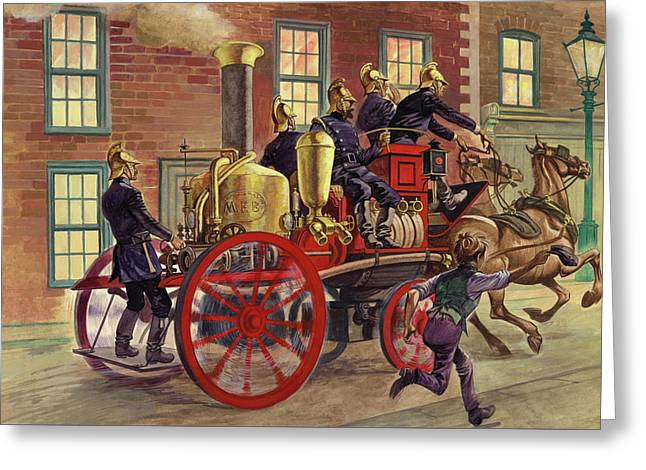 London Fire Engine Of Circa 1860 Greeting Card by Peter Jackson