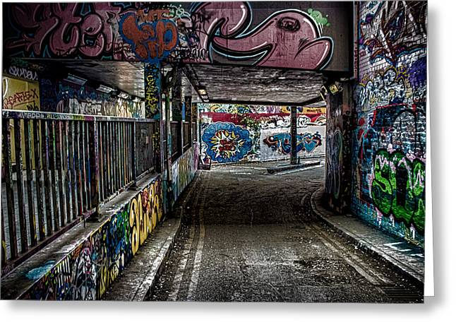 Vivid Colour Greeting Cards - London Graffiti Greeting Card by Martin Newman