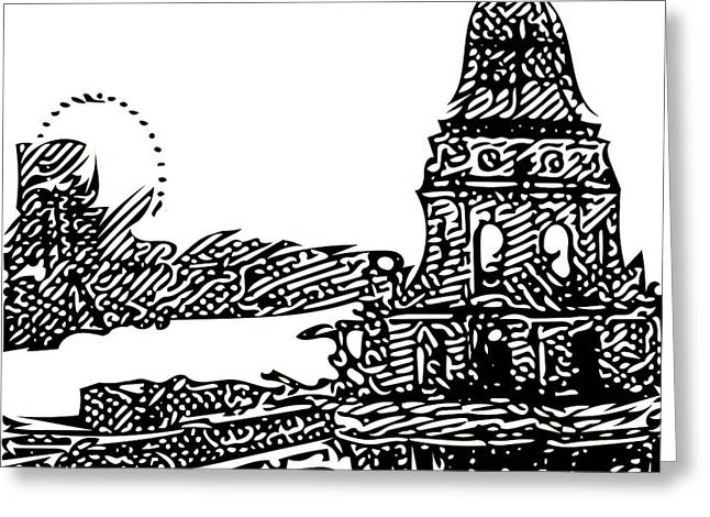Abstract Digital Drawings Greeting Cards - London in Black and White Greeting Card by Radu Gavrila