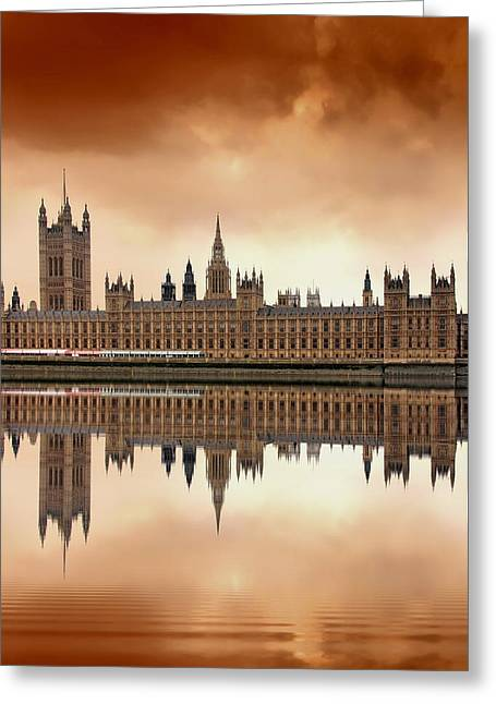 Red Buildings Greeting Cards - London Greeting Card by Jaroslaw Grudzinski