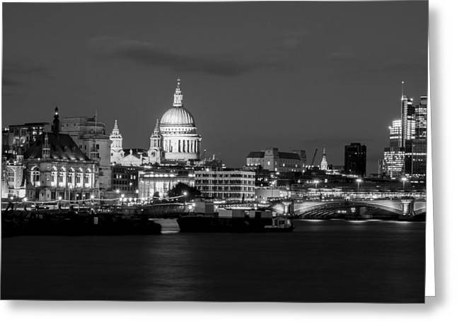 Famous Bridge Greeting Cards - London Lights Up Greeting Card by Clive Eariss