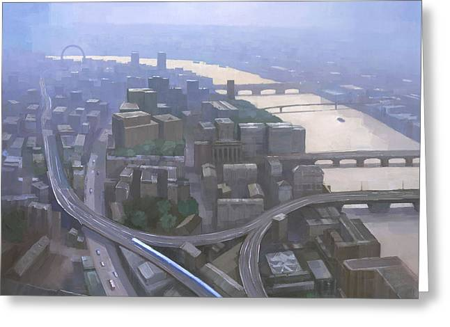 London, Looking West From The Shard Greeting Card by Steve Mitchell