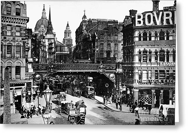 Streetlight Greeting Cards - London: Ludgate Circus Greeting Card by Granger