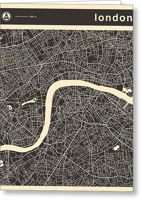 Uk Map Greeting Cards - London Map Greeting Card by Jazzberry Blue