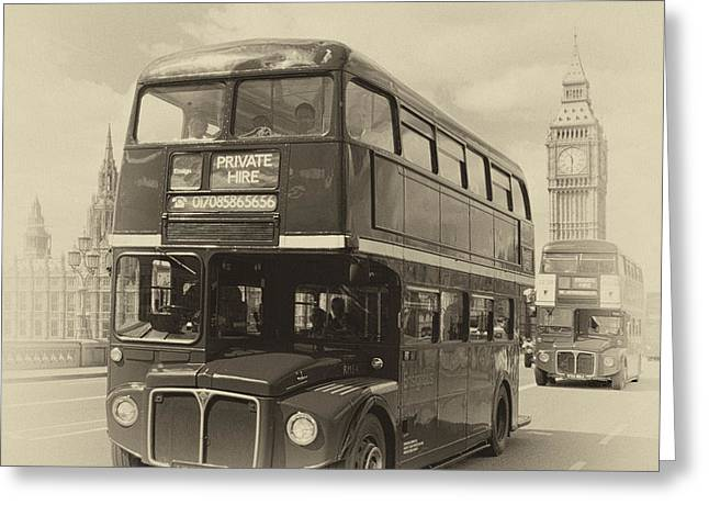Old Quarter Greeting Cards - LONDON Old Buses on Westminster Bridge Greeting Card by Melanie Viola