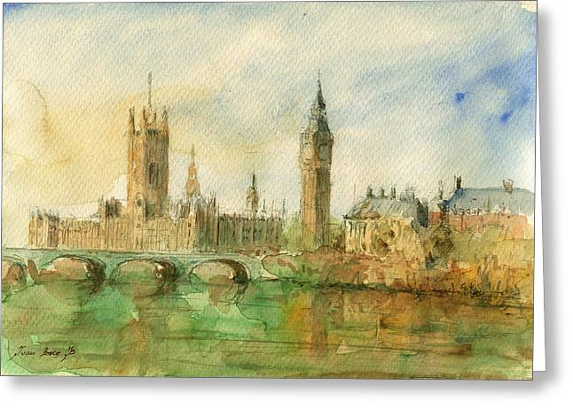 City Paintings Greeting Cards - London parliament Greeting Card by Juan  Bosco