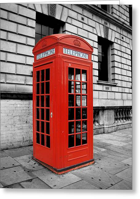 Telephone Booth Greeting Cards - London Phone Booth Greeting Card by Rhianna Wurman