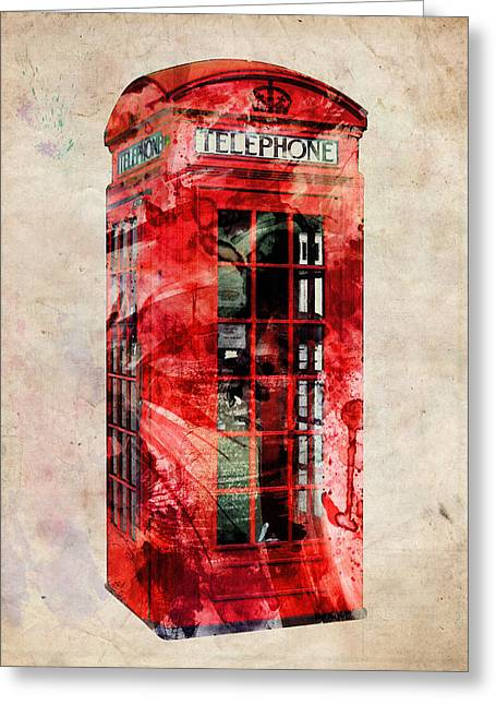 Red Digital Art Greeting Cards - London Phone Box Urban Art Greeting Card by Michael Tompsett