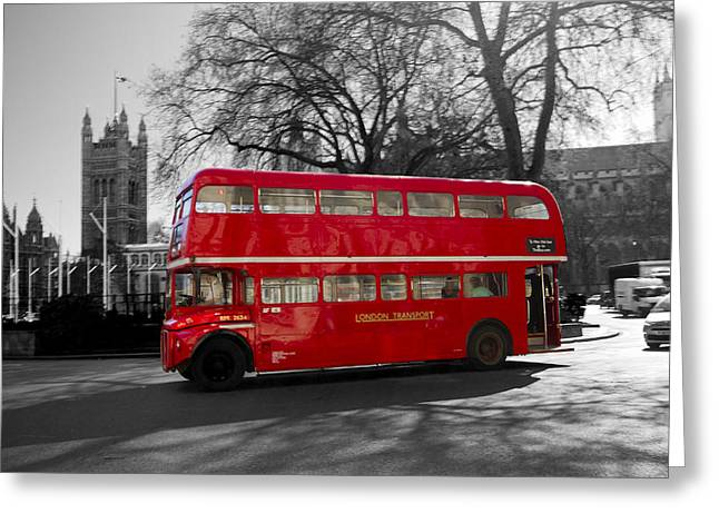 Lt Greeting Cards - London Red Bus Greeting Card by David French