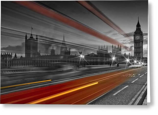 Clock Greeting Cards - LONDON Red Bus Greeting Card by Melanie Viola