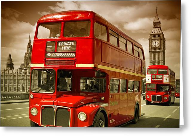Palace Of Westminster Greeting Cards - LONDON Red Buses on Westminster Bridge II Greeting Card by Melanie Viola