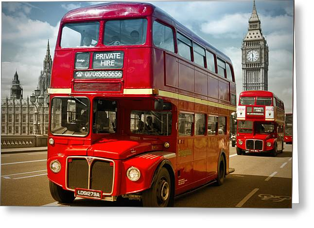 Palace Of Westminster Greeting Cards - LONDON Red Buses on Westminster Bridge III Greeting Card by Melanie Viola