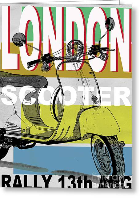 Rally Greeting Cards - London Scooter Rally Greeting Card by Edward Fielding