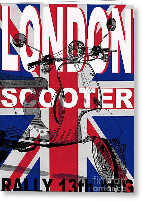 Rally Greeting Cards - London Scooter Rally Poster Greeting Card by Edward Fielding