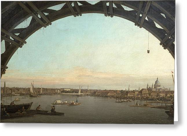 Seen Greeting Cards - London seen through an arch of Westminster Bridge Greeting Card by Canaletto